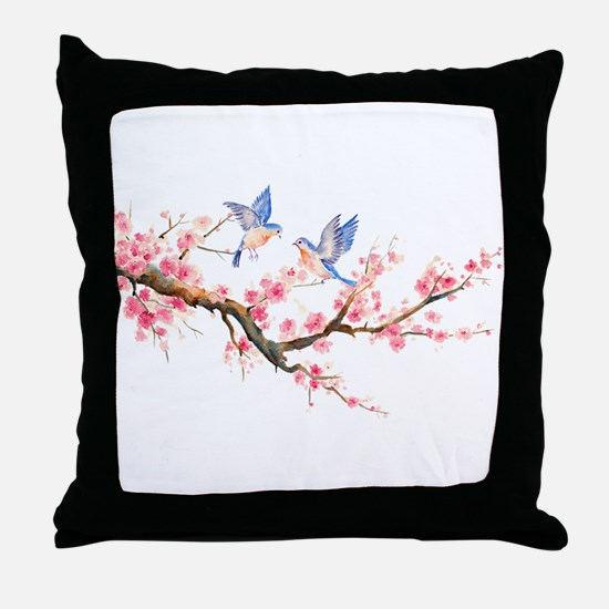 Watercolor pink cherry blossoms and b Throw Pillow