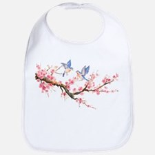 Watercolor pink cherry blossoms and blue birds Bib