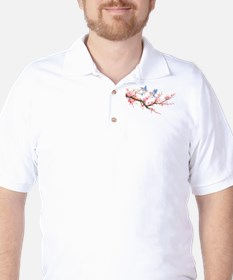 Watercolor pink cherry blossoms and blu Golf Shirt