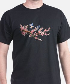 Watercolor pink cherry blossoms and blue b T-Shirt