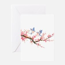 Watercolor pink cherry blossoms and Greeting Cards