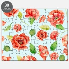 Watercolor Red Oriental Poppy Pattern Puzzle