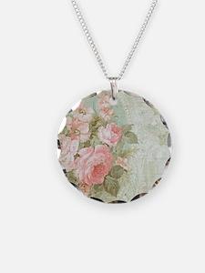 Chic vintage pink rose Necklace