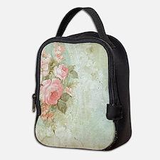 Chic vintage pink rose Neoprene Lunch Bag