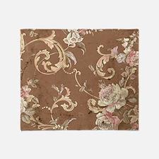 Beautiful Vintage brown floral Throw Blanket