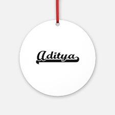 Aditya Classic Retro Name Design Ornament (Round)