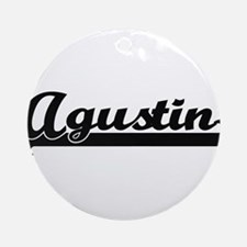 Agustin Classic Retro Name Design Ornament (Round)