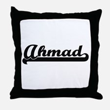 Ahmad Classic Retro Name Design Throw Pillow