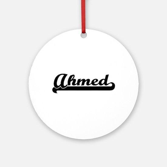 Ahmed Classic Retro Name Design Ornament (Round)