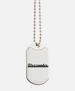 Alexzander Classic Retro Name Design Dog Tags