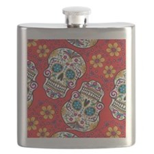 Sugar Skull Red Flask