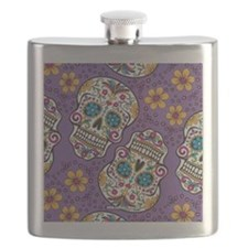 Sugar Skull Purple Flask