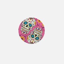 Sugar Skull Pink Mini Button