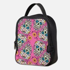 Sugar Skull Pink Neoprene Lunch Bag