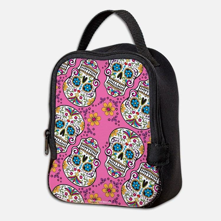 Sugar Skull Pink Neoprene Lunch Bag