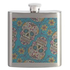 Sugar Skull Teal Flask