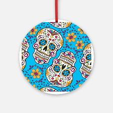 Sugar Skull Teal Ornament (Round)