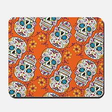 Sugar Skull Orange Mousepad