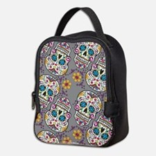 Sugar Skull Grey Neoprene Lunch Bag