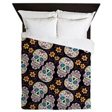 Day of The Dead Sugar Skull, BLACK Queen Duvet