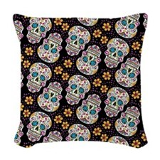 Day of The Dead Sugar Skull, B Woven Throw Pillow