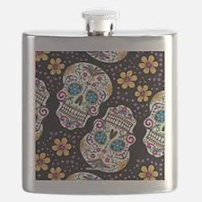 Day of The Dead Sugar Skull, BLACK Flask