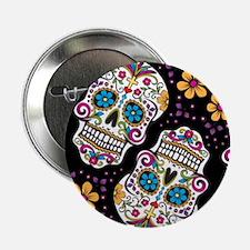 """Day of The Dead Sugar Skull, BLACK 2.25"""" Button"""