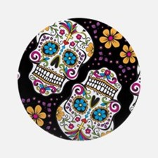Day of The Dead Sugar Skull, BLAC Ornament (Round)