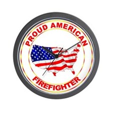 Proud American Firefighter Wall Clock