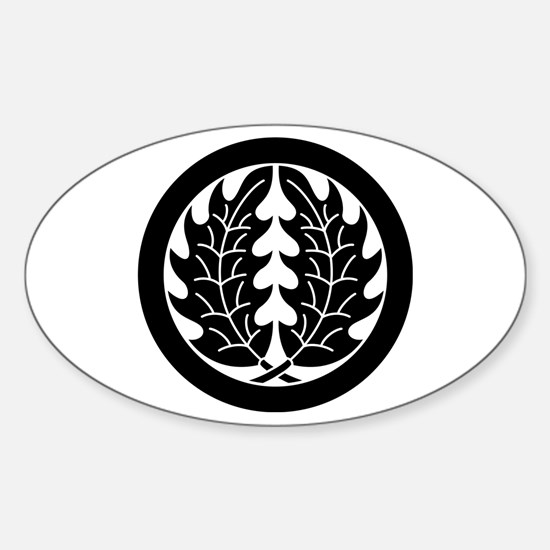 Embracing holly leaves in circle Sticker (Oval)