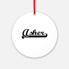 Asher Classic Retro Name Design Ornament (Round)