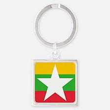 Square Burma or Myanmar Flag Keychains