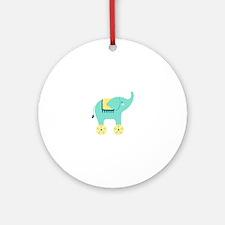 Cute Elephant Toy Ornament (Round)