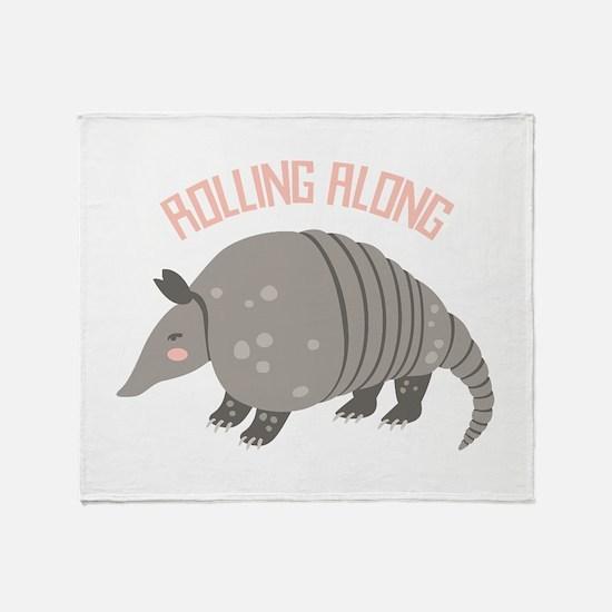 Rolling Along Armadillo Throw Blanket