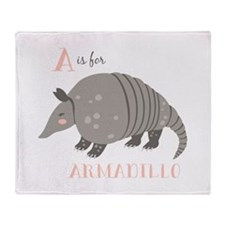 A is for Armadillo Throw Blanket