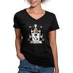 Rocher Family Crest Women's V-Neck Dark T-Shirt