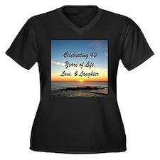 40TH BLESSIN Women's Plus Size V-Neck Dark T-Shirt
