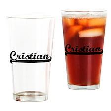 Cristian Classic Retro Name Design Drinking Glass