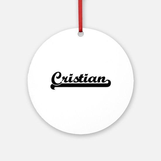 Cristian Classic Retro Name Desig Ornament (Round)