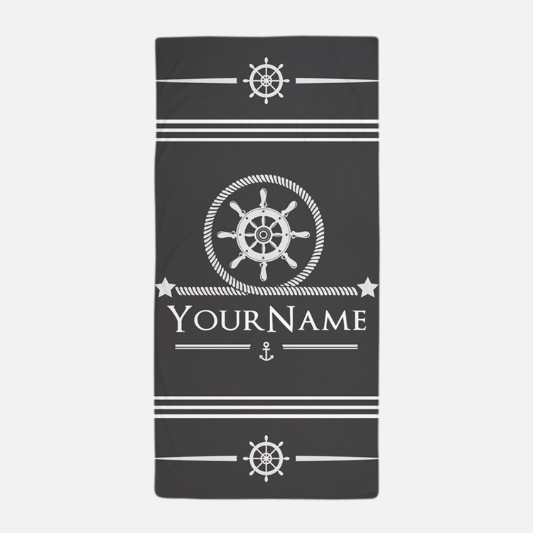 Nautical Gray Anchor Rope Stripes Pers Beach Towel