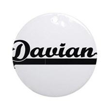 Davian Classic Retro Name Design Ornament (Round)