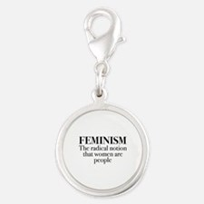 Feminism Silver Round Charm