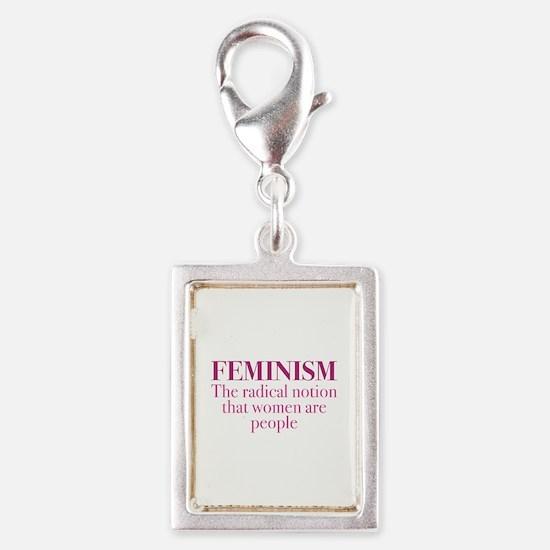 Feminism Silver Portrait Charm