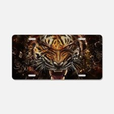 Angry Tiger Breaking Through Glass Aluminum Licens