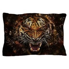 Angry Tiger Breaking Through Glass Pillow Case