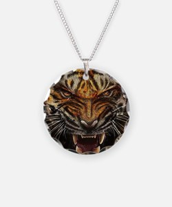 Angry Tiger Breaking Through Glass Necklace