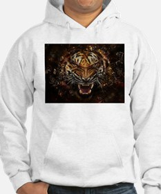 Angry Tiger Breaking Through Glass Hoodie