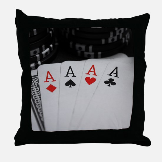 4 Aces Throw Pillow
