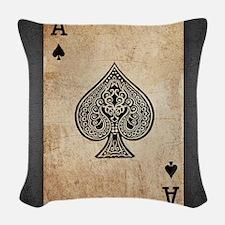 Ace Of Spades Woven Throw Pillow