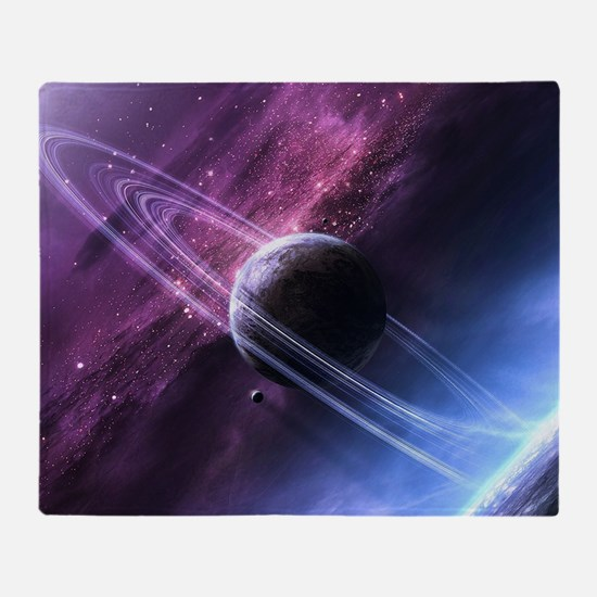 Planet Ring System Throw Blanket